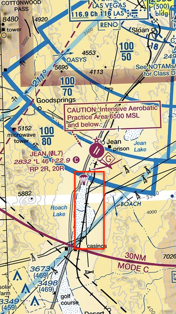 Box indicates Skydive Operations over dry lakebed.
